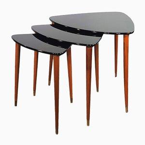 Tables Gigognes Mid-Century en Teck et Laque Noire, 1960s, Set de 3