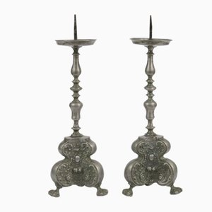 18th-Century Baroque Pewter Candlesticks, Set of 2