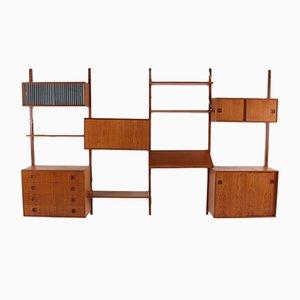Modulares dänisches Wandregal aus Teak, 1960er