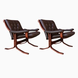 Vintage Scandinavian Leather Armchairs, Set of 2