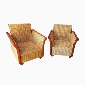 Large Vintage Wicker Armchairs, Set of 2