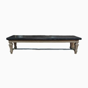 Antique Solid Oak & Brass Bench from Banque de France