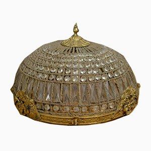 Lampada da soffitto vintage in ottone e vetro dorato