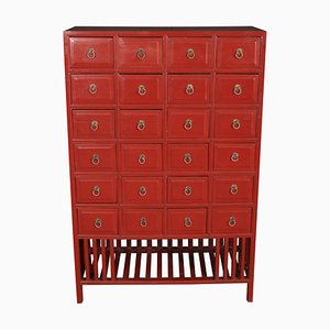 Red Chinese Apothecary Chest, 1920s
