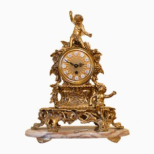 Antique Bronze Clock with Angel Decoration