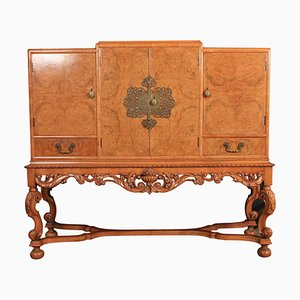 Vintage Burr Walnut Cocktail Cabinet Sideboard, 1920s