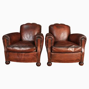 Fauteuils Club en Cuir, France, 1920s, Set de 2