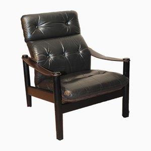 Genieteter dänischer Safari Sessel aus Leder & Wildleder von Soren Nissen & Ebbe Gehl