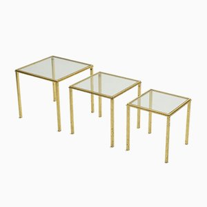 Gilt & Wrought Iron Nesting Tables by Robert & Roger Thibier, 1960s