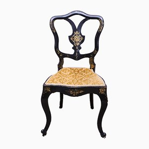 Chaise Victorienne en Bois Laqué Noir et Doré de Jennens & Bettridge