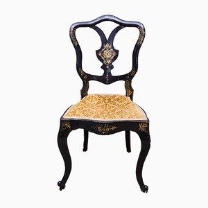 Silla victoriana lacada en negro y dorado de Jennens & Bettridge
