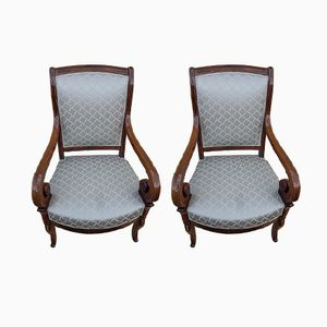Antique Charles X Lounge Chairs by Jeanselme, Set of 2