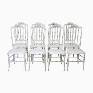 Antique Lacquered & Hand-Painted Wood Chiavari Chairs, 1880s, Set of 8