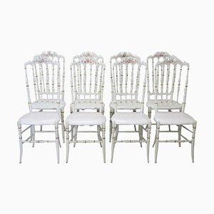 Sedie Chiavari antiche laccate e dipinte a mano, fine XIX secolo, set di 8