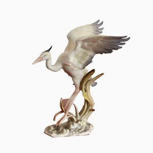 German Heron Sculpture from Hutschenreuther Selb, 1920s