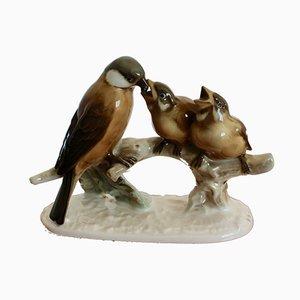Escultura de gorriones alemana vintage de Hutschenreuther Selb