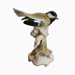 Escultura de pájaro sobre una rama alemana vintage de Hutschenreuther Selb