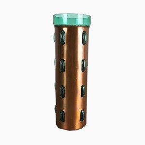 Zylindrische Vase aus grünem Glas & Kupfer von Nanny Still für Raak, 1970er