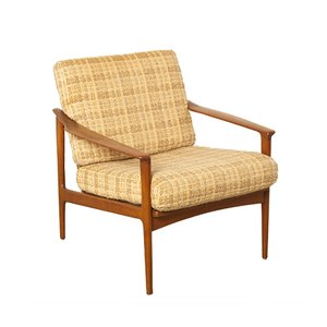 Danish Beige and Brown Armchair, 1950s
