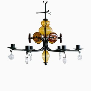Candelabrum Chandelier by Erik Hoglund for Boda Glasbruk, 1960s