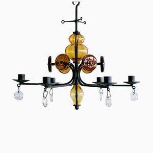 Lámpara de araña candelabro de Erik Hoglund para Boda Glasbruk, años 60