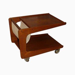 Mesa auxiliar de teca con revistero, años 60