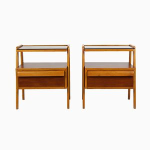 Mid-Century Nightstands with Black Glass Tops from Jitona, 1960s, Set of 2