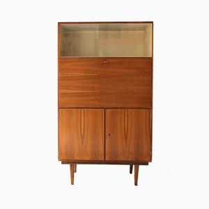 Secretaire in legno di noce con scomparto in vetro, anni '60
