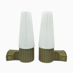 Wandlampen aus Opalglas & Keramik von Sigvard Bernadotte für Ifö, 1960er, 2er Set