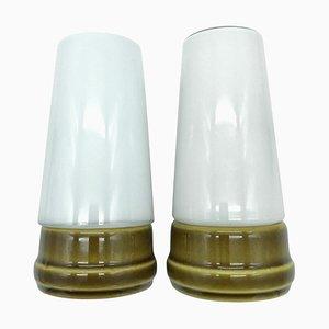 Schwedische Vintage Badlampen aus Keramik mit Opalglasschirmen von Sigvard Bernadotte für Ifö, 1960er, 2er Set