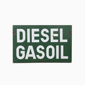 Vintage Double-Sided Enamel Diesel Sign