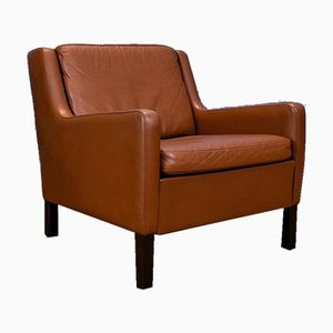 Mid-Century Tan Brown Leather Lounge Armchair, 1970s