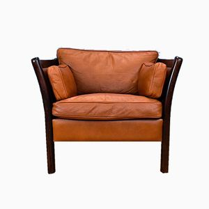 Mid-Century Tan Brown Leather Wide Lounge Armchair, 1970s