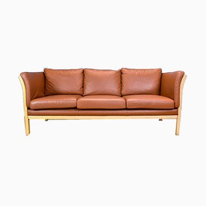 Vintage Danish Tan Leather and Beech 3-Seat Sofa