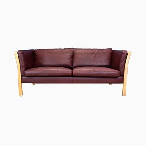 Vintage Danish Maroon Leather and Beech 2.5-Seat Sofa