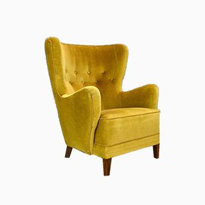 Mid-Century Danish Yellow Velour Club Armchair, 1940s