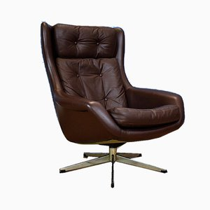 Mid-Century Danish Brown Leather Swivel Lounge Chair by H.W. Klein for Bramin