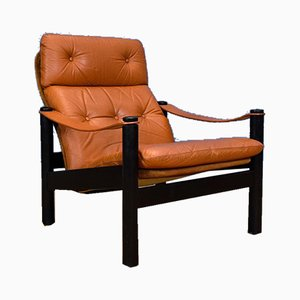 Mid-Century Danish Tan Leather Beo Lounge Chair by Ebbe Gehl & Søren Nissen for Jeki Møbler