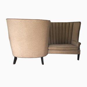 Geschwungenes Vintage 4-Sitzer Samtsofa