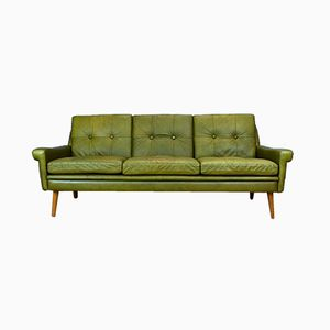 Mid-Century Danish Green Leather 3-Seat Sofa Settee by Svend Skipper for Skipper, 1960s
