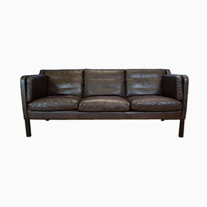 Mid-Century Danish Brown Leather 3-Seat Sofa by Georg Thams for Vejen Polstermøbelfabrik