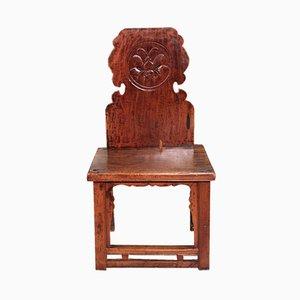 Silla de comedor china de madera tallada, años 60