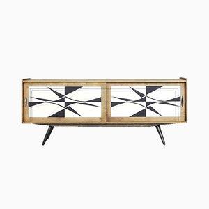 Modernes skandinavisches Mid-Century Sideboard mit handgemaltem Muster, 1960er
