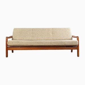 Sofá cama de tres plazas de teca de Juul Kristensen, años 70