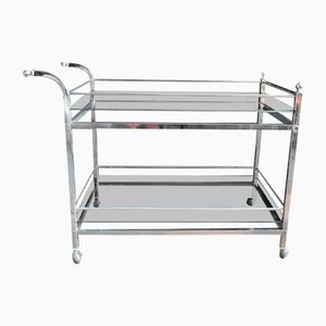 Mid-Century Chrome and Glass Drinks Trolley
