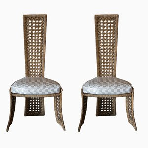 Vintage Sculptural Rattan Chairs by Marzio Cecchi for Studio Most, 1980s, Set of 2