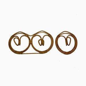 Mid-Century Modern Rattan Hooks by Franco Albini & Franca Helg, 1961, Set of 2