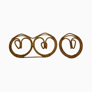 Percheros Mid-Century modernos de ratán de Franco Albini & Franca Helg, 1961. Juego de 2