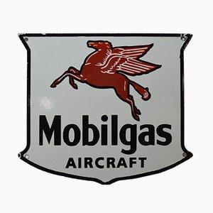 Emailliertes Vintage Mobilgaz Aircraft Schild