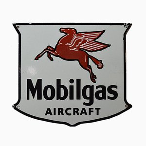Vintage Enamelled Mobilgaz Aircraft Sign